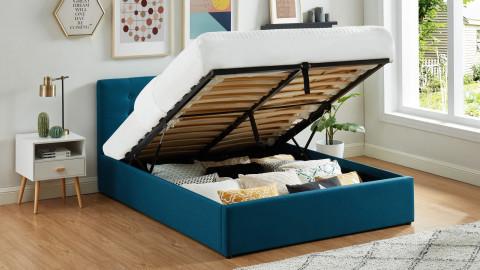 Lit coffre 140x190 en tissu bleu canard avec tête de lit et sommier à lattes - Collection Tina