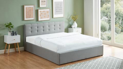 Lit coffre 160x200 en tissu gris clair avec tête de lit et sommier à lattes - Collection Tina
