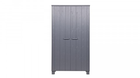 Armoire 2 portes en pin massif gris anthracite - Collection Dennis