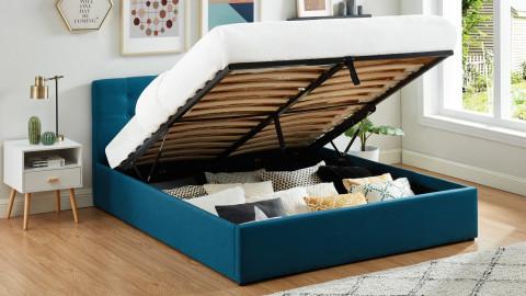 Lit coffre 160x200 en tissu bleu canard avec tête de lit et sommier à lattes - Collection Tina