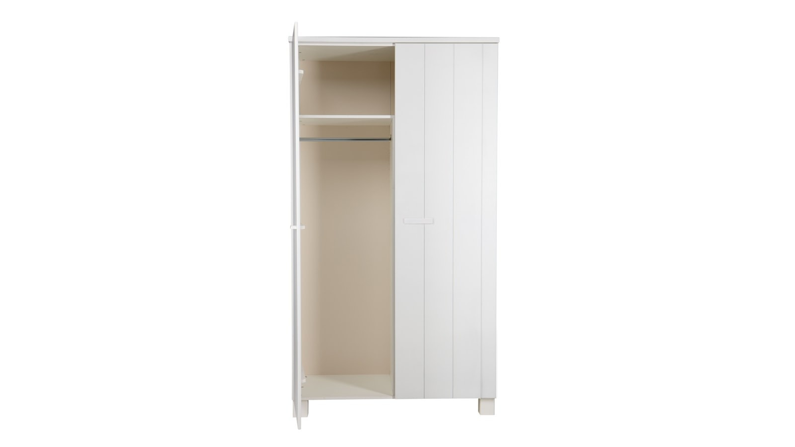 armoire 2 portes en pin bross blanc collection robin. Black Bedroom Furniture Sets. Home Design Ideas