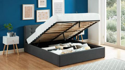 Lit coffre 160x200 en tissu gris anthracite avec tête de lit et sommier à lattes - Collection Tina