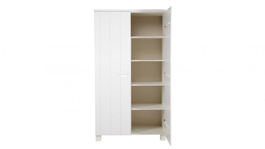 armoire 2 portes en pin bross blanc collection robin woood homifab. Black Bedroom Furniture Sets. Home Design Ideas