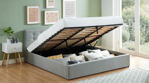 Lit coffre 180x200 en tissu gris clair avec tête de lit et sommier à lattes - Collection Tina