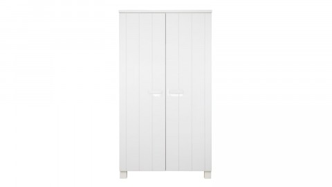 Armoire 2 portes en pin brossé blanc - Collection Robin