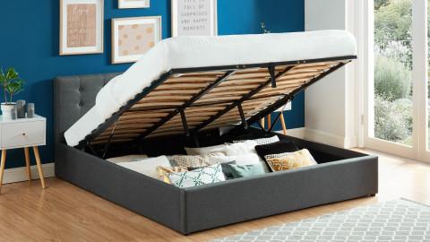 Lit coffre 180x200 en tissu gris anthracite avec tête de lit et sommier à lattes - Collection Tina