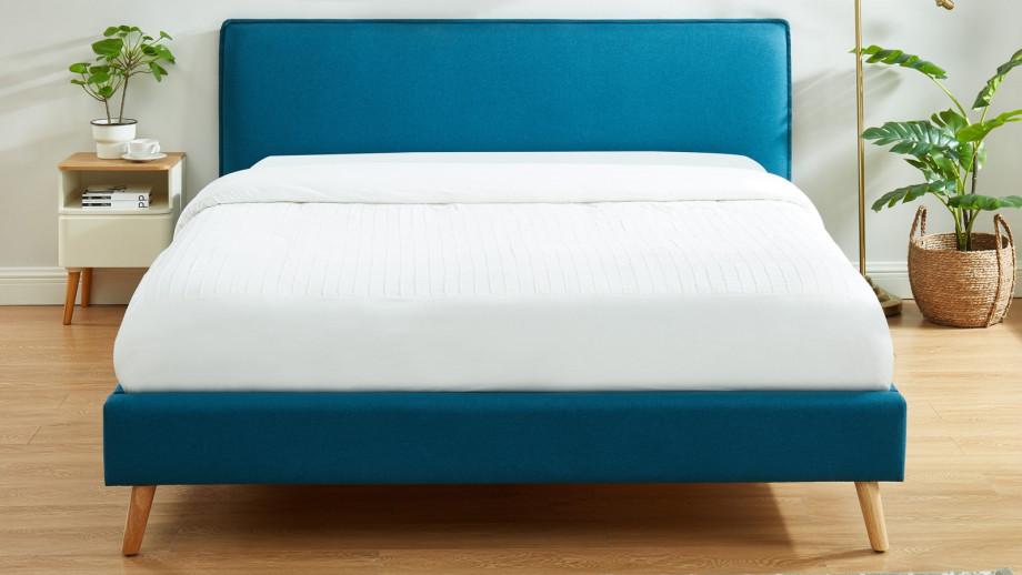 Lit adulte 140x190cm en tissu bleu canard avec tête de lit et sommier à lattes - Collection Gustave