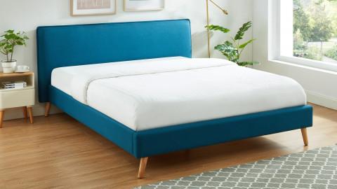 Lit adulte 160x200cm en tissu bleu canard avec tête de lit et sommier à lattes - Collection Gustave