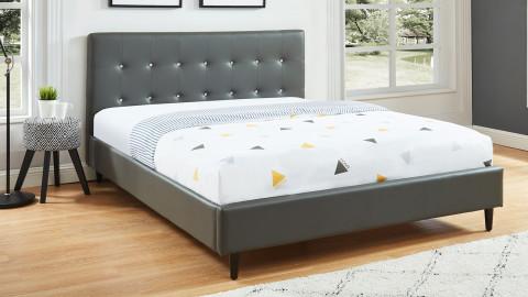 Lit adulte 140x190cm en simili gris avec tête de lit capitonnée à strass et sommier à lattes - Collection Paris