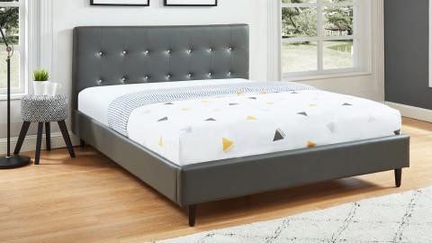 Lit adulte 140x200cm en simili gris avec tête de lit capitonnée à strass et sommier à lattes - Collection Paris
