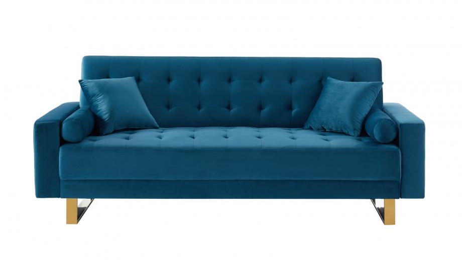 Canapé en velours bleu canard piètement en métal doré - Collection Chic