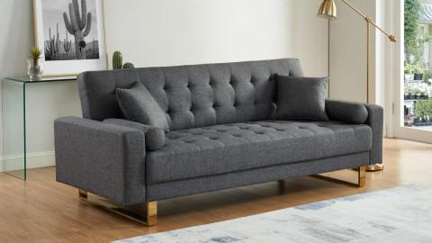Canapé en tissu gris chiné piètement en métal doré - Collection Chic