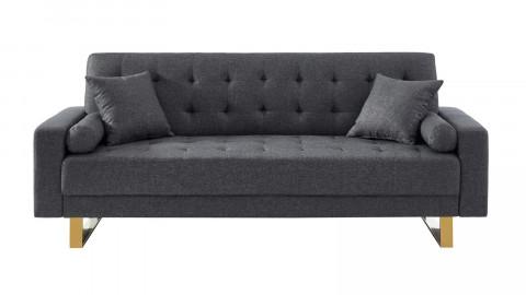 Canapé 3 places convertible en tissu gris chiné piètement en métal doré - Collection Chic