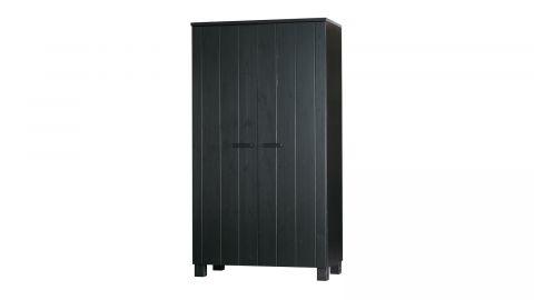 Armoire 2 portes en pin laqué noir - Collection Dennis - Woood