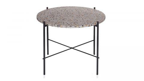 Table basse ?63cm en terrazzo piètement en métal noir - Collection Vayen - Woood