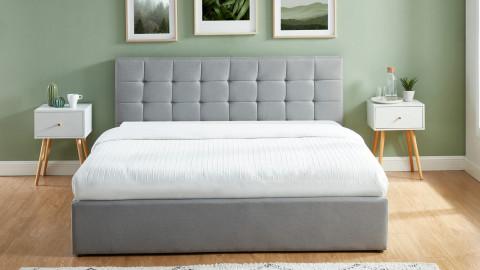Lit coffre 180x200 gris clair avec tête de lit + sommier à lattes relevable - Collection Tommy