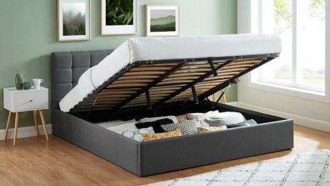 Lit coffre 180x200 gris foncé avec tête de lit + sommier à lattes relevable - Collection Tommy