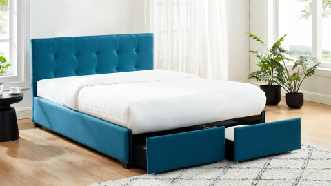 Lit à tiroirs 140x190 en tissu bleu canard avec tête de lit capitonnée et sommier à lattes - Collection Justin