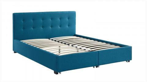 Lit à tiroirs 160x200 en tissu bleu canard avec tête de lit capitonnée et sommier à lattes - Collection Justin