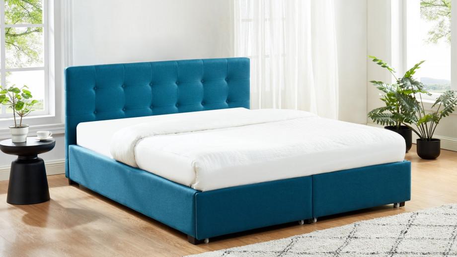 lit à tiroirs 160x200 en tissu bleu canard avec tête de
