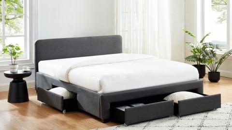 Lit à tiroirs 140x190 en tissu gris anthracite avec tête de lit et sommier à lattes - Collection Stan