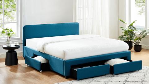 Lit à tiroirs 140x190 en tissu bleu canard avec tête de lit et sommier à lattes - Collection Stan
