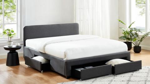 Lit à tiroirs 160x200 en tissu gris anthracite avec tête de lit et sommier à lattes - Collection Stan