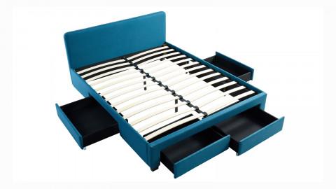 Lit à tiroirs 160x200 en tissu bleu canard avec tête de lit et sommier à lattes - Collection Stan