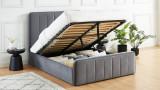 Lit coffre 140x190cm en velours gris anthracite avec tête de lit + sommier à lattes - Collection Bold