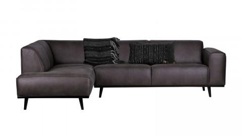 Canapé d'angle gauche en cuir gris, piètement en bois - Collection Statement
