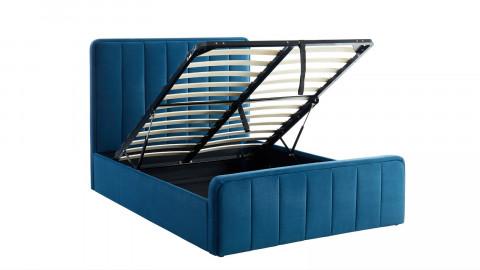 Lit coffre 140x190cm en velours bleu canard avec tête de lit + sommier à lattes - Collection Bold