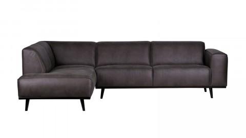 Canapé d''angle gauche en cuir gris piètement en bois - Collection Statement' - BePureHome