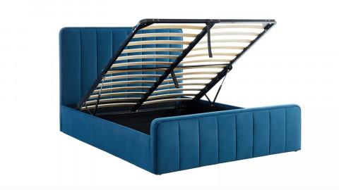Lit coffre 160x200cm en velours bleu canard avec tête de lit + sommier à lattes - Collection Bold