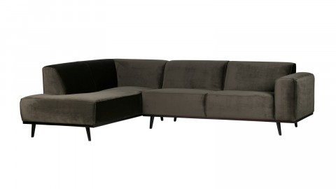 Canapé d'angle gauche en velour vert piètement en bois - Collection Statement