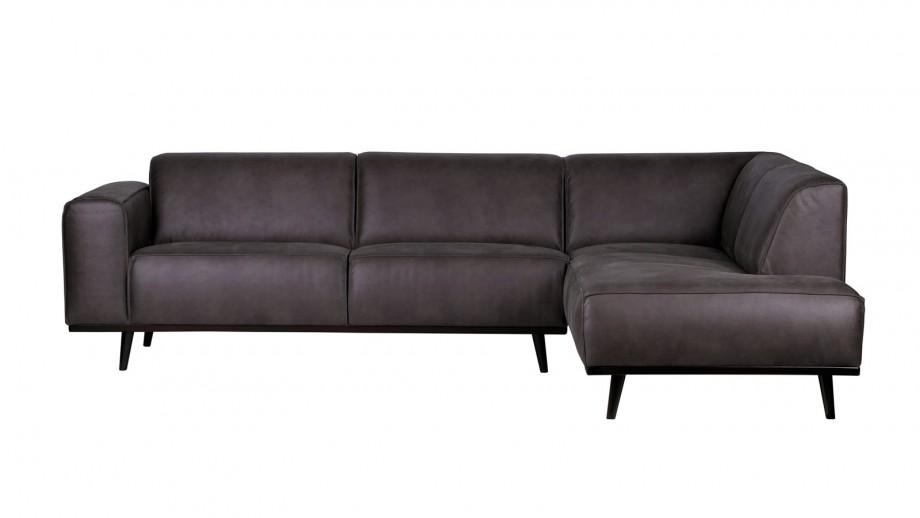 Canapé d'angle droit en cuir gris, piètement en bois - Collection Statement