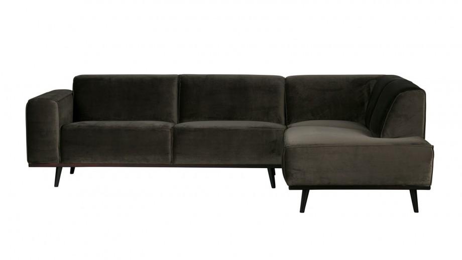 Canapé d'angle gauche en velour vert, piètement en bois - Collection Statement