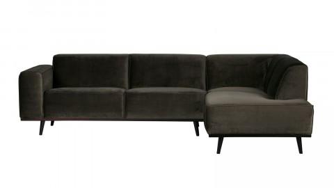 Canapé d''angle droit en velour vert piètement en bois - Collection Statement - BePureHome