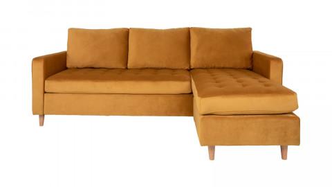 Canapé d'angle réversible en velours jaune moutarde - Collection Firenze - House Nordic