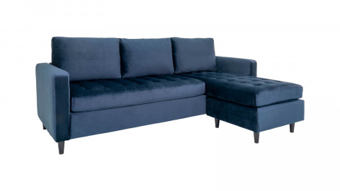 Canapé d'angle réversible en velours bleu foncé - Collection Firenze - House Nordic