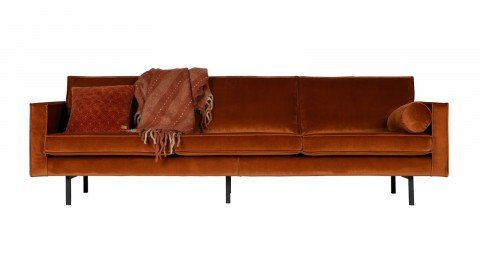 Canapé 3 places en velours rouge - Collection Rodéo