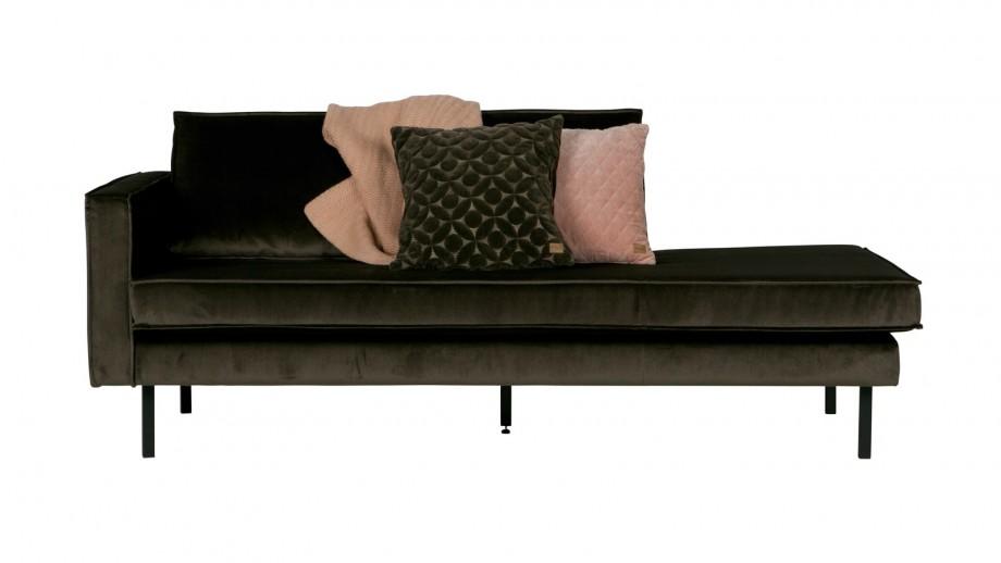 Canapé méridienne gauche en velours vert foncé, piètement en bois - Collection Rodéo