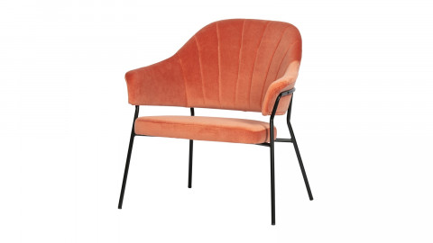 Fauteuil vintage en velours corail - Collection Bobby - Woood