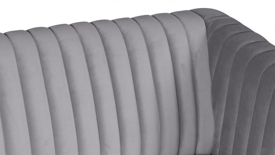 Canapé 2 places en velours gris foncé – Collection Dante