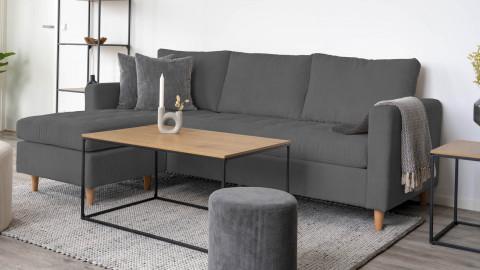 Canapé d'angle réversible en velours côtelé gris - Collection Firenze - House Nordic