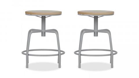 Lot de 2 tabourets assise en bois et pieds en métal couleur piètement gris béton - Collection Emiel - Woood