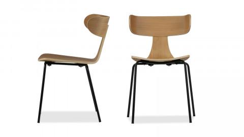 Lot de 2 chaises en bois de frêne naturel piètement en métal - Collection Form - BePureHome