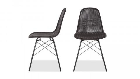 Lot de 2 chaises en rotin noir, piètement en métal - Collection Spun - BePureHome