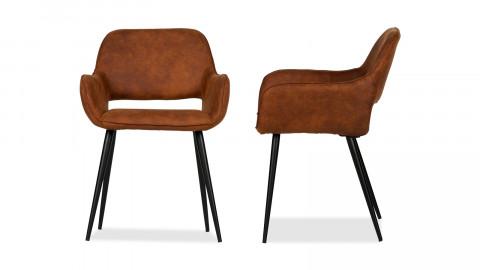 Lot de 2 chaises vintage en polyuréthane marron, piètement conique en bois – Collection Jelle – Woood