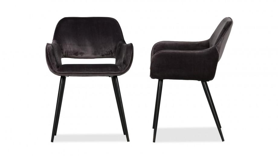 Lot de 2 chaises en Velours gris – Collection Jelle – Woood