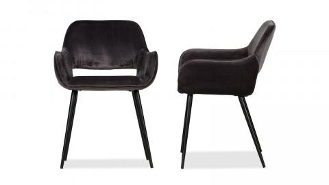 Lot de 2 chaises vintage en polyuréthane gris, piètement conique en bois – Collection Jelle – Woood